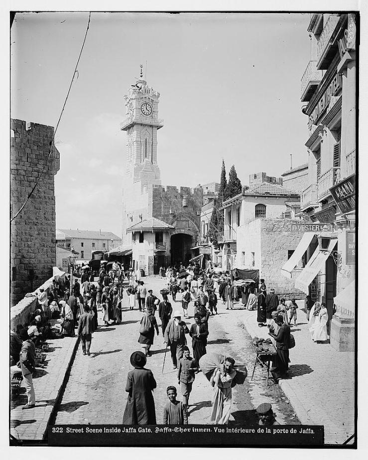 Street scene inside Jaffa gate, Jerusalem c. 1908-1914. By American Colony (Jerusalem). Photo Dept.