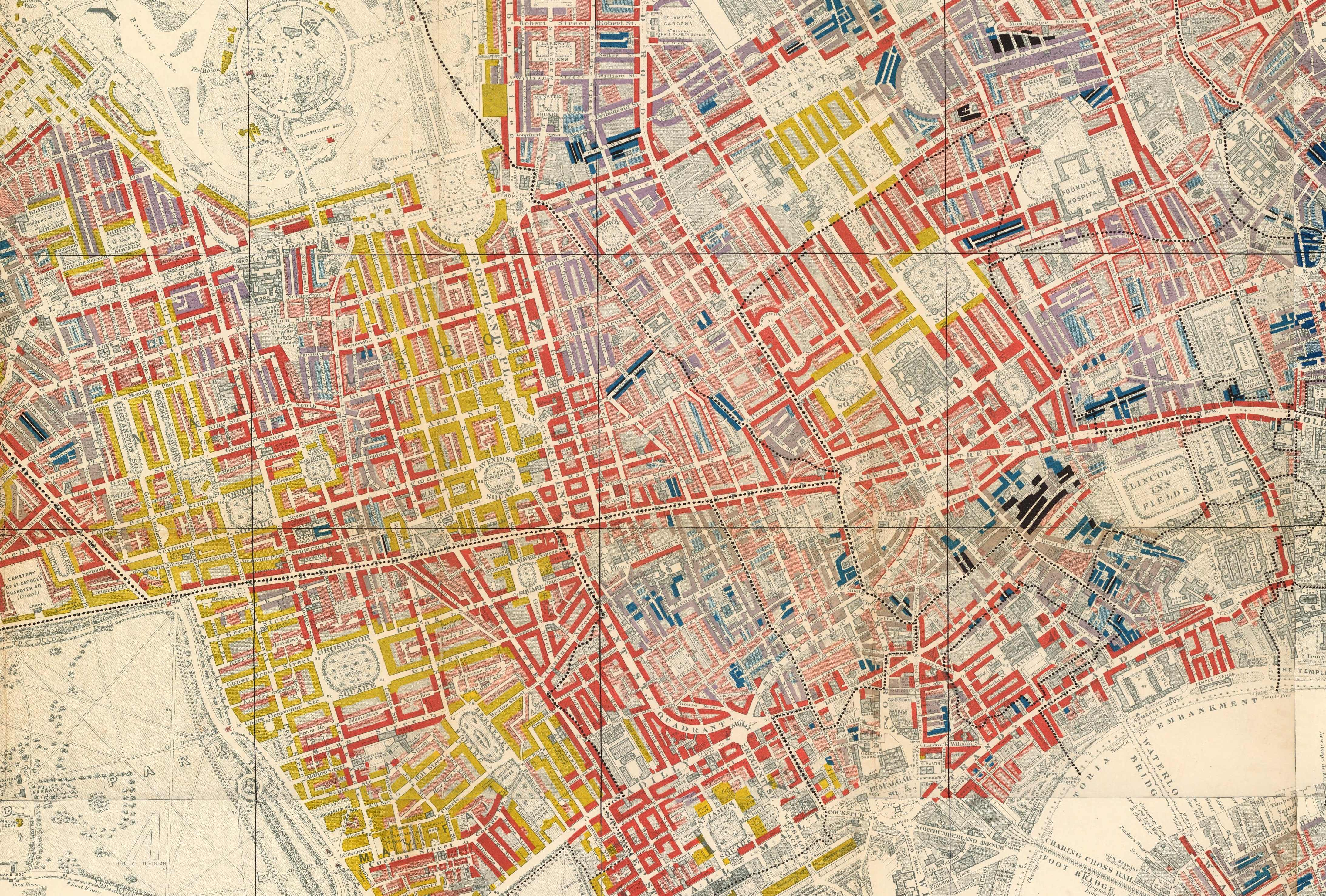 Map Soho London.The Narrow Streets And Meaner Houses Of Soho In 19th Century